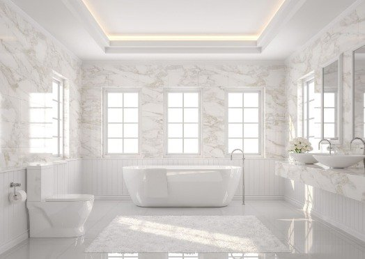 tiling in a white and bright bathroom at Joondalup Tilers