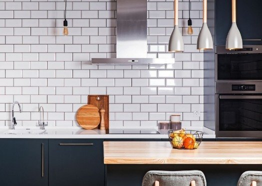 white tiles in a kitchen at Joondalup Tilers
